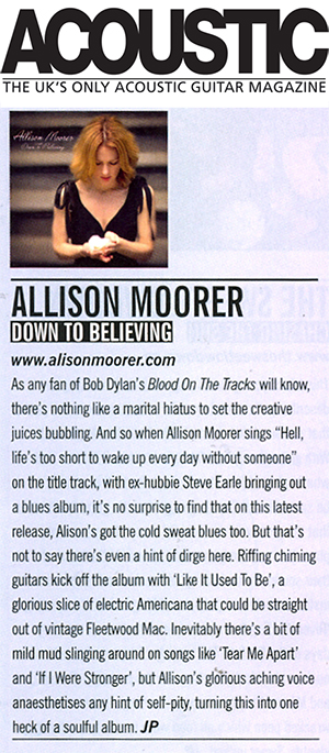 Allison Moorer - Down To Believing Acoustic review