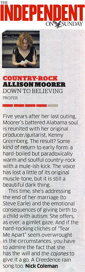 Allison Moorer - Down To Believing Independent on Sunday review