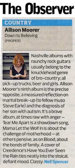 Allison Moorer - Down To Believing Observer review