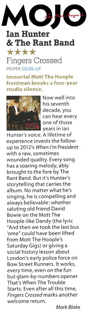 Ian Hunter - Fingers Crossed MOJO Review