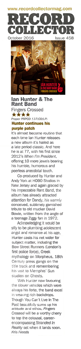 Ian Hunter - Fingers Crossed Record Collector Review